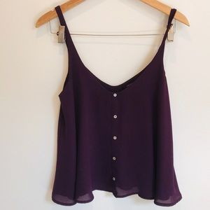 """Forever 21 """"Chiffon"""" double layer tank w/ buttons"""
